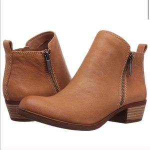 Lucky Brand Basel Ankle Booties Cognac Brown 9